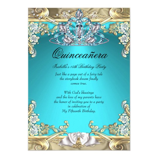 Quinceanera Aqua Teal Gold 15th Birthday Party Card | Zazzle