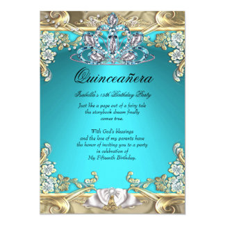 Quinceanera Aqua Teal Gold 15th Birthday Party 5x7 Paper Invitation Card