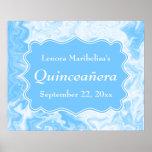 Quinceanera azul en colores pastel elegante posters