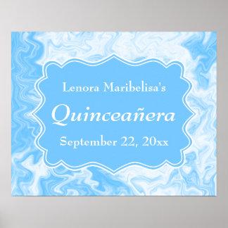 Quinceanera azul en colores pastel elegante póster