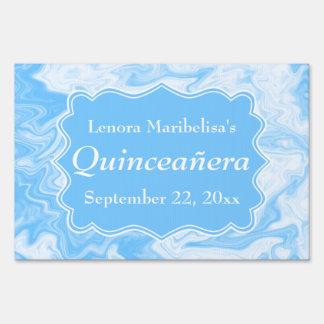 Quinceanera azul en colores pastel elegante señales