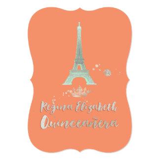 "Quinceanera/bckgrnd/princesa/corona de invitación 5"" x 7"""