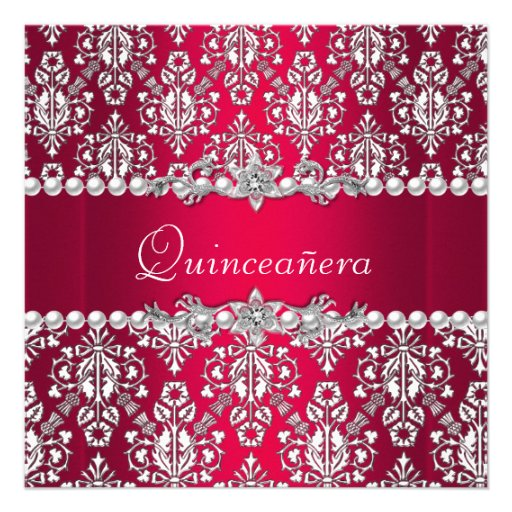 Quinceañera Birthday 15th Party Red White Silver Personalized Announcement