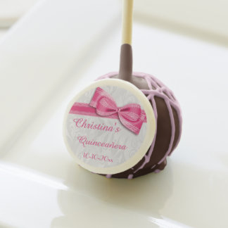 Quinceañera Birthday Damask and Faux Bow Cake Pops