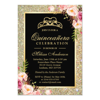 Quinceanera Birthday Floral Gold Glitter Sparkles Card