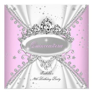 Quinceanera Birthday Glitter Pink White 2 Personalized Announcement