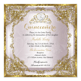 Quinceanera Birthday Gold Pearl Pink Damask Card
