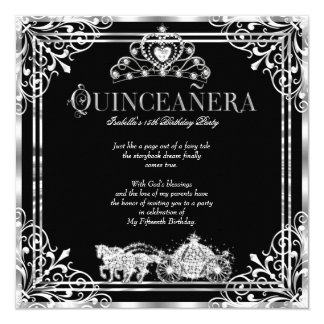 Quinceanera Birthday Horse Carriage Black Silver 2 Card