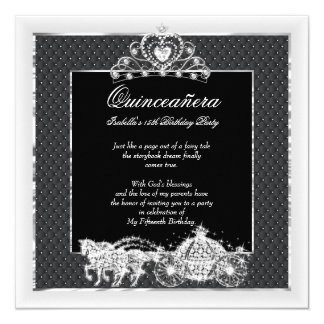 Quinceanera Birthday Horse Carriage Black Silver Card