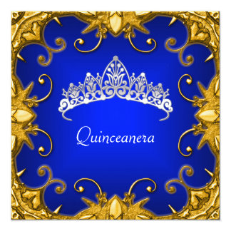 Quinceanera Birthday Party Bjue Gold White Tiara Invitations