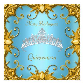 Quinceanera Birthday Party Blue Gold White Tiara Card
