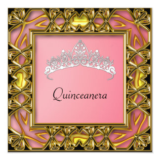Quinceanera Birthday Party  Gold and salmon Card