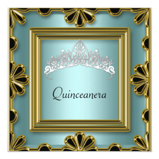 Quinceanera Birthday Party  Gold and Teal Card