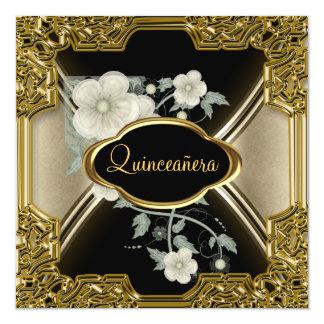 Quinceañera Birthday Party Gold Black 31 Card