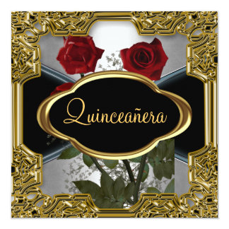 Quinceanera Birthday Party Gold Black 6 Card