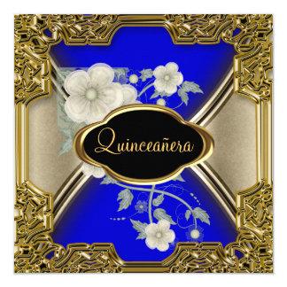 Quinceañera Birthday Party Gold Black blue Card