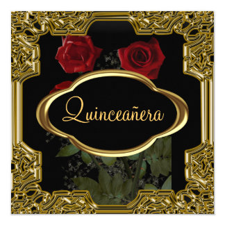 Quinceanera Birthday Party  Gold Black Card