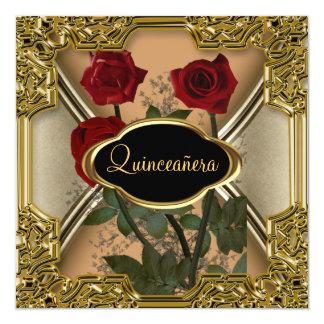Quinceañera Birthday Party Gold Black Card