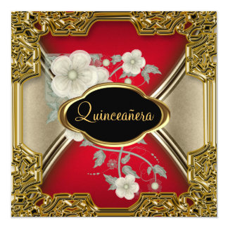 Quinceañera Birthday Party Gold Black red Card