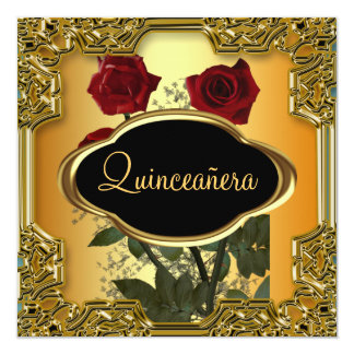 Quinceanera Birthday Party  Gold Card