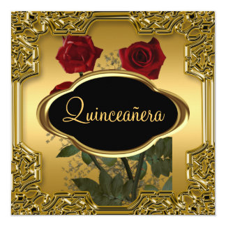 Quinceanera Birthday Party  Gold Personalized Announcements