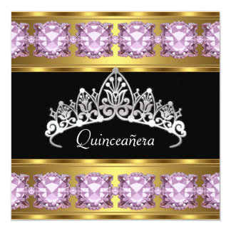 Quinceañera Birthday Party Gold Pink Jewels Announcements