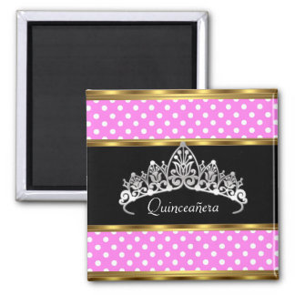 Quinceañera Birthday Party Gold Pink Polka dots 2 Inch Square Magnet