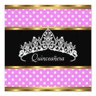 Quinceañera Birthday Party Gold Pink Polka dots Invitations