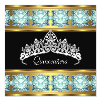 Quinceañera Birthday Party Gold Teal Jewels Custom Invitation