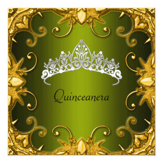 Quinceanera Birthday Party Green Gold White Tiara Custom Invitations