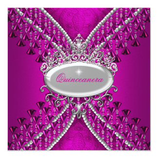 Quinceanera Birthday Party Hot Pink Beads Card