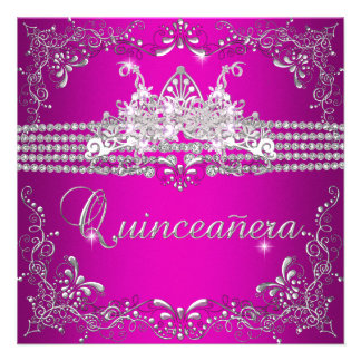 Quinceanera Birthday Party Hot Pink Silver Tiara Invitation