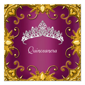 Quinceanera Birthday Party Maroon Gold White Tiara Personalized Invites