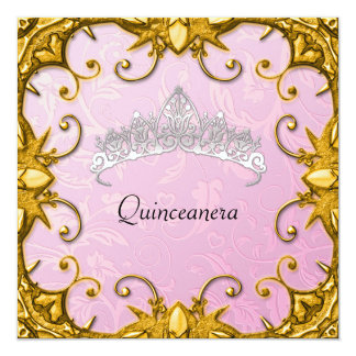 Quinceanera Birthday Party Pink Gold White Tiara Invite