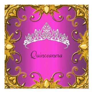 Quinceanera Birthday Party Pink Gold White Tiara Custom Invitation