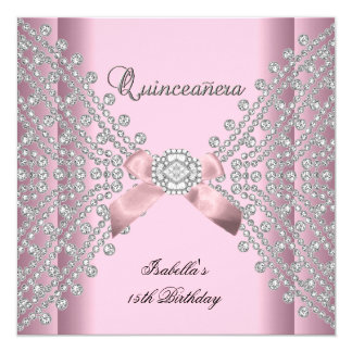 Quinceanera Birthday Party Pink White Diamonds Card