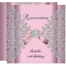 Quinceanera Birthday Party Pink White Diamonds Invitation