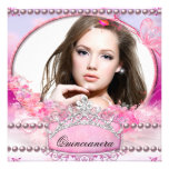 Quinceanera Birthday Party Pink White Floral Photo Custom Announcements