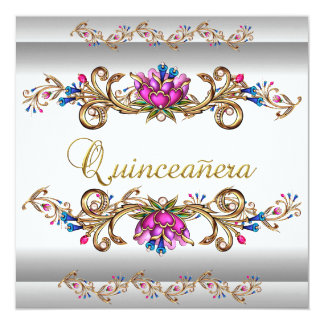 Quinceanera Birthday Party Pink White Flowers Blue Card