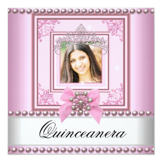 Quinceanera Birthday Party Pink White Pearl Photo Card