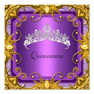 Quinceanera Birthday Party Purple Gold White Tiara Custom Invitations