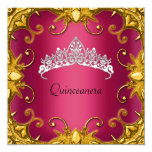 Quinceanera Birthday Party Red Gold White Tiara Personalized Invites