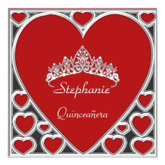Quinceañera Birthday Party Red Personalized Invitation