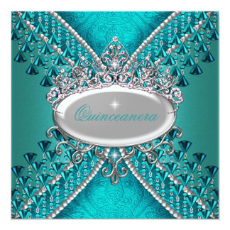 Quinceanera Birthday Party Teal Blue Beads Card