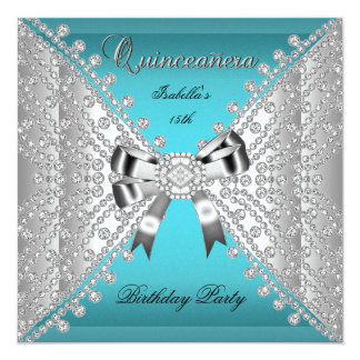 Quinceanera Birthday Party Teal Blue Diamonds Card