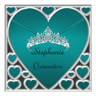 Quinceañera Birthday Party Teal Personalized Invitation