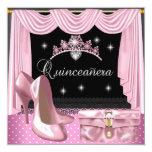 Quinceanera Birthday Pink Black White Invite