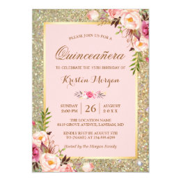 Quinceaera invitations zazzle quinceanera birthday pink floral gold glitters card stopboris Gallery