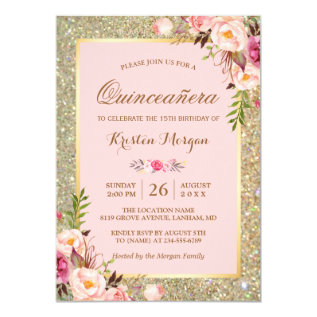 Quinceanera Birthday | Pink Floral Gold Glitters Card at Zazzle