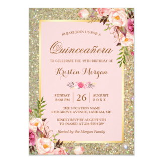 Quinceaera invitations zazzle quinceanera birthday pink floral gold glitters card solutioingenieria Image collections